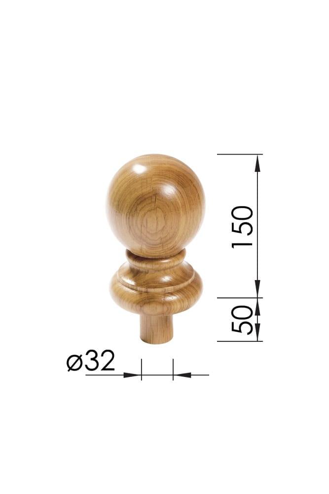Newel Cap Dimensions - Acorn - George Quinn Stair Parts Plus