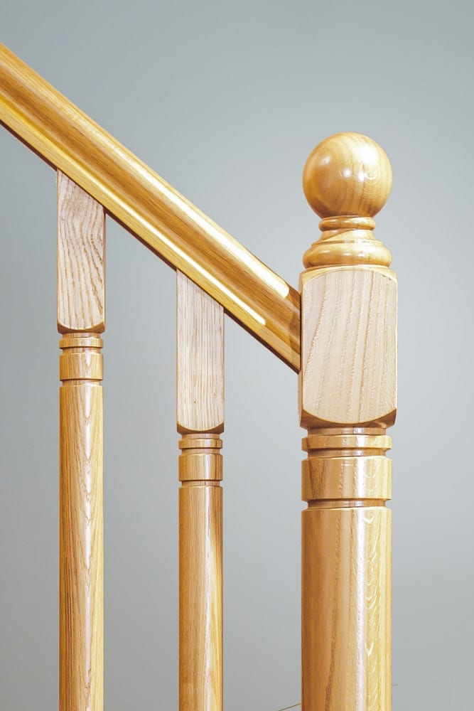 Stairs Closeup with Ball Newel Cap - George Quinn Stair Parts Plus