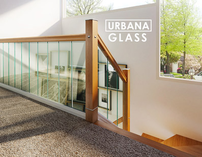Glass Stairs with Oak Handrail and Newel Posts - George Quinn - Urbana