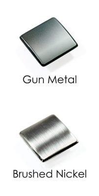 Metal Newel Post Bolt Cover - Gun Metal and Brushed Nickel Material - George Quinn Stair Parts - Urbana