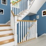 Painted Staircase with Oak Pyramid Newel Cap - George Quinn Stair Parts