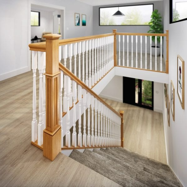 Oak Staircase with Large Pyramid Newel Cap - George Quinn Stair Parts