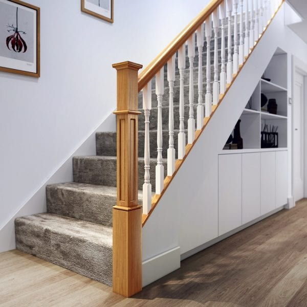 Oak Staircase Bottom with Large Pyramid Newel Cap - George Quinn Stair Parts