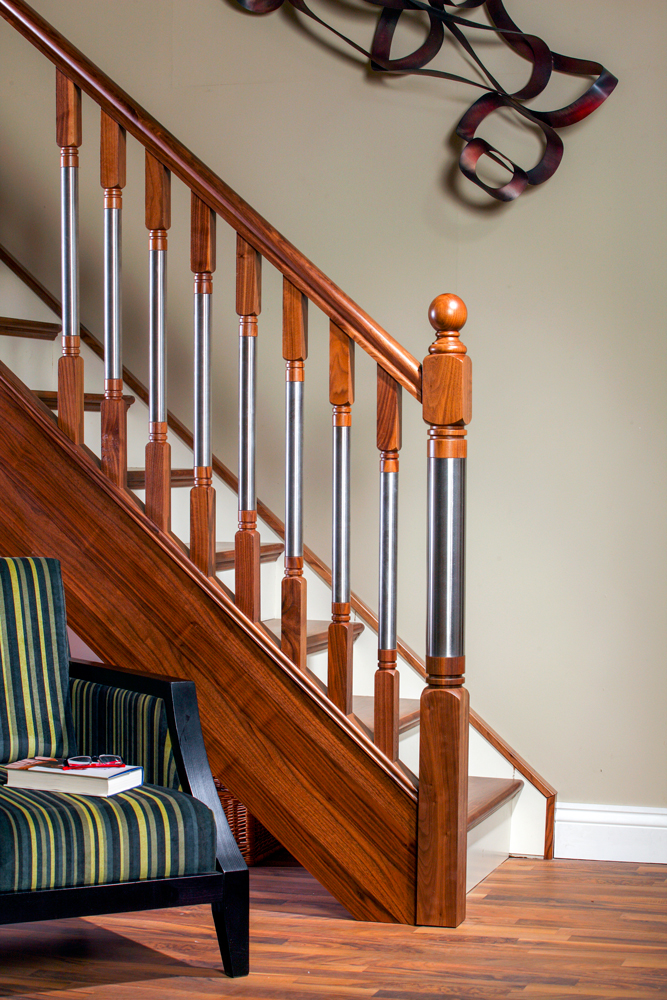Modern Stair Parts - Erne Spindles walnut and steel - George Quinn Stair Parts Plus