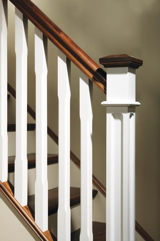 Image of Pyramid newel post caps used in Stop chamfered collection | George Quinn Stair Parts Plus