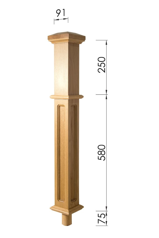 Stair Parts - Box Newel -Long Square Dimensions - George Quinn Stair Parts Plus