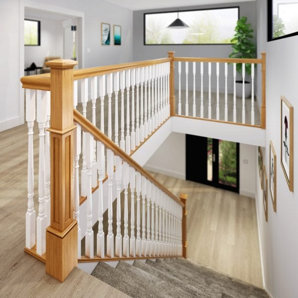 Staircase - Oak Box Newel and Painted Achill Spindles - Landing - George Quinn Stair Parts Plus