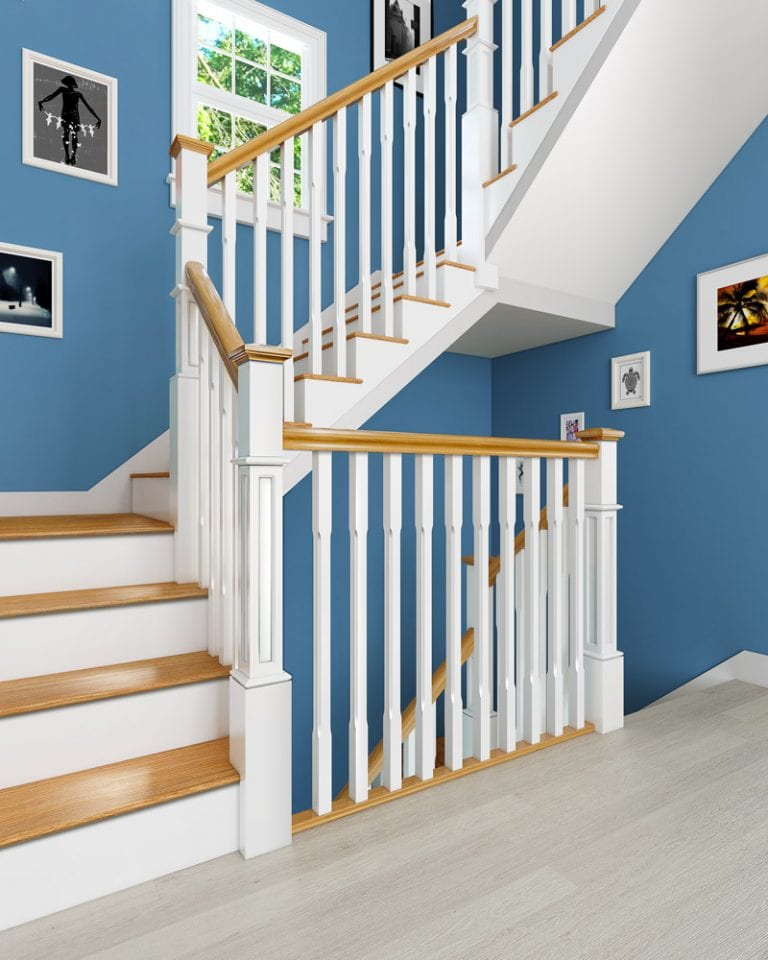 Staircase - Painted Box Newel and Painted Chamfered Boyne Spindles - George Quinn Stair Parts Plus