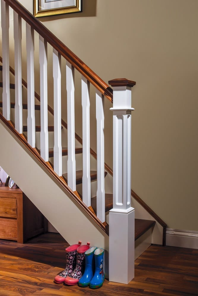 Staircase - Painted Box Newel and Painted Chamfered Boyne Spindles with walnut - George Quinn Stair Parts Plus