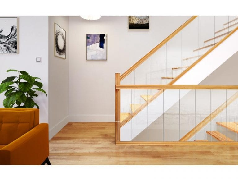 Glass Stairs with Oak handrails and Newel Posts- Urbana - George Quinn Stair Parts